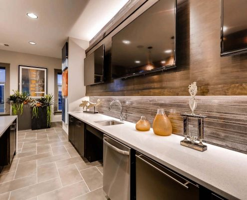 Kathy Andrews Interiors Multifamily Interior Design Leasing and Amenity Center Venue at the Promenade Kitchen