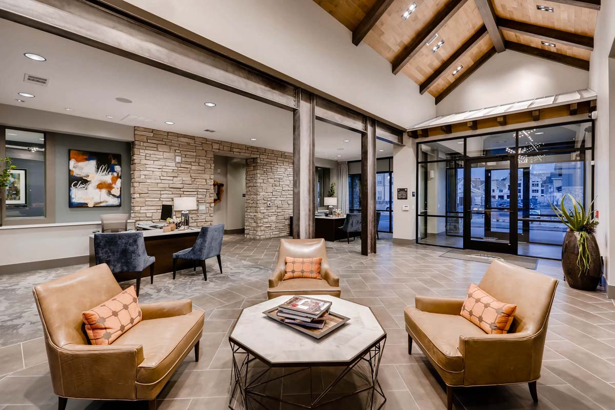 Kathy Andrews Interiors Multifamily Interior Design Leasing and Amenity Center Venue at the Promenade Leasing Office