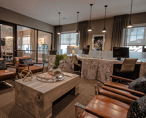 Kathy Andrews Interiors Multifamily Interior Design Leasing and Amenity Centers Business Lounge cropped