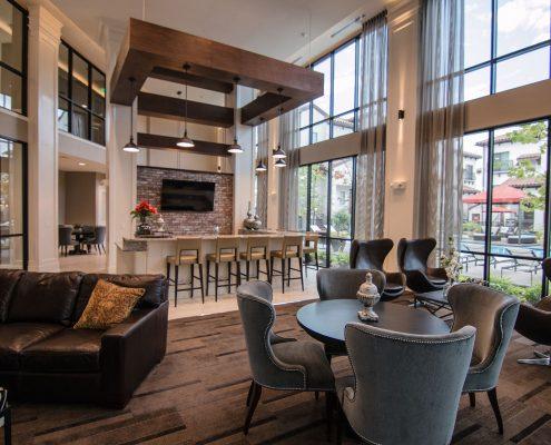 Kathy Andrews Interiors Multifamily Interior Design Domain Memorial Leasing and Amenity Centers Club Room 1