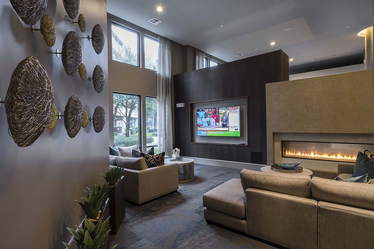 Kathy Andrews Interiors Multifamily Interior Design Alexan 5151 Leasing and Amenity Center Clubroom