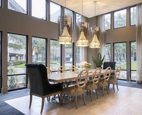 Kathy Andrews Interiors Multifamily Interior Design Alexan 5151 Leasing and Amenity Center Dining