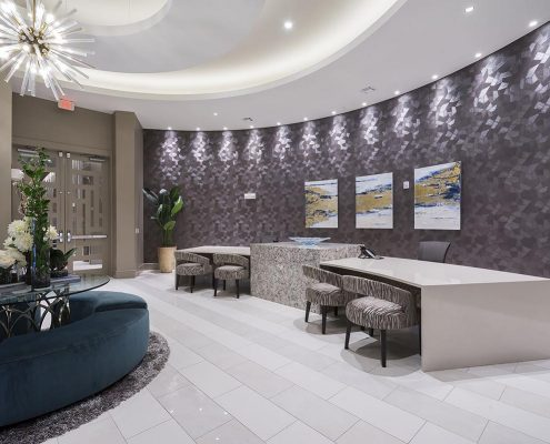 Kathy Andrews Interiors Multifamily Interior Design Alexan 5151 Leasing and Amenity Center Leasing
