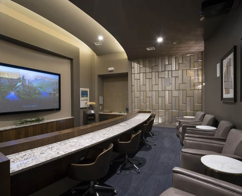 Kathy Andrews Interiors Multifamily Interior Design Alexan 5151 Leasing and Amenity Center Theater