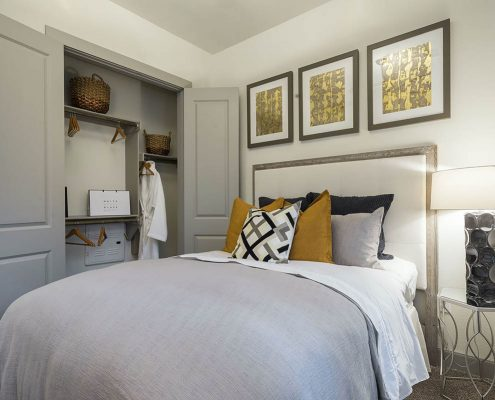 Kathy Andrews Interiors Multifamily Interior Design Alexan 5151 Model Unit Bedroom