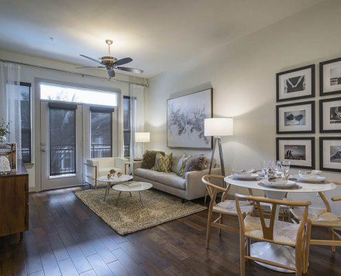Kathy Andrews Interiors Multifamily Interior Design Alexan 5151 Model Unit Living Room 2
