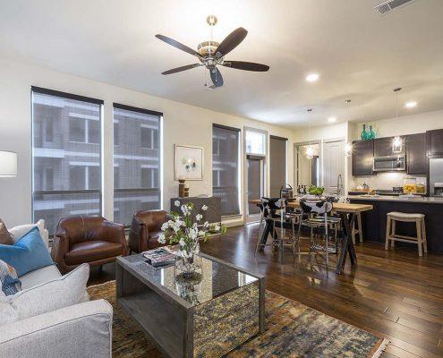 Kathy Andrews Interiors Multifamily Interior Design Alexan 5151 Model Unit Living Room