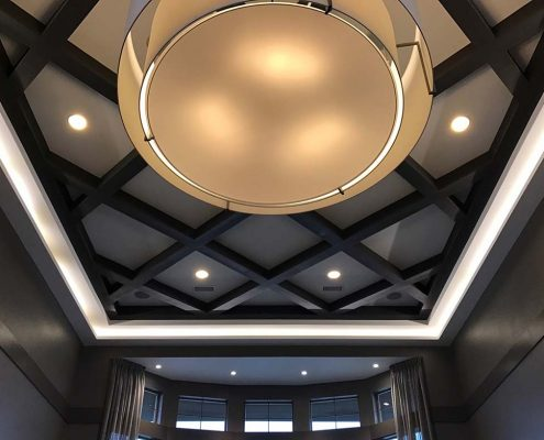 Kathy Andrews Interiors Multifamily Interior Design Leasing and Amenity Center Ironwood at Red Rocks Lobby Ceiling