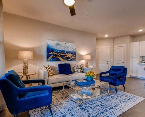 Kathy Andrews Interiors Multifamily Interior Design Model Units Ironwood at Red Rocks Living Room
