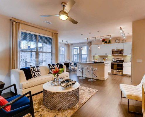 Kathy Andrews Interiors Multifamily Interior Design Model Units Touchstone Living Room 2