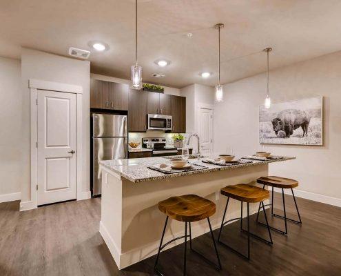 Kathy Andrews Interiors Multifamily Interior Design Model Units Venue at the Promenade Kitchen