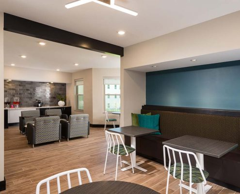 Kathy Andrews Interiors Student Housing Interior Design College Suites at Hudson Valley Coffee Lounge 2