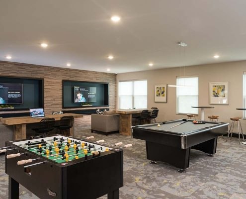 Kathy Andrews Interiors Student Housing Interior Design College Suites at Hudson Valley Game Room 2