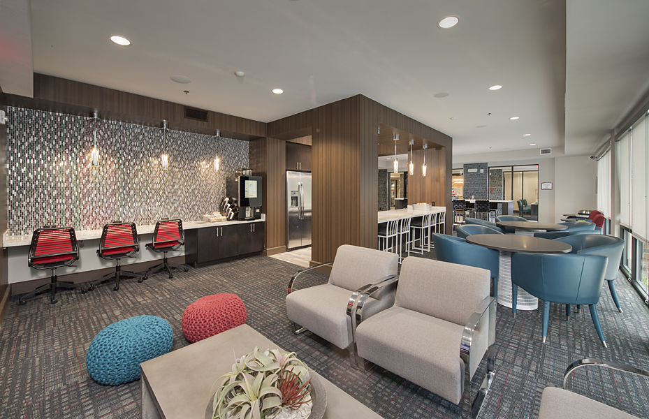 Kathy Andrews Interiors Student Housing Interior Design The Domain at Tallahassee Clubroom 1