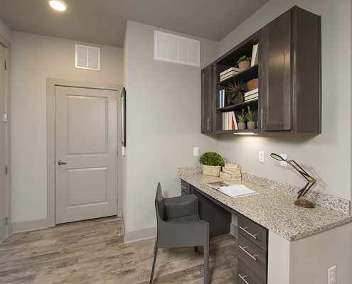Kathy Andrews Interiors Multifamily Garden Style Interior Design SoCo at Tower Point 1B Desk