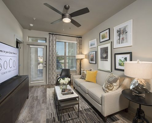Kathy Andrews Interiors Multifamily Garden Style Interior Design SoCo at Tower Point 1B Living