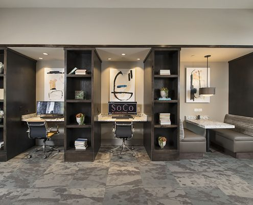 Kathy Andrews Interiors Multifamily Garden Style Interior Design SoCo at Tower Point Leasing and Amenity Center Business Center