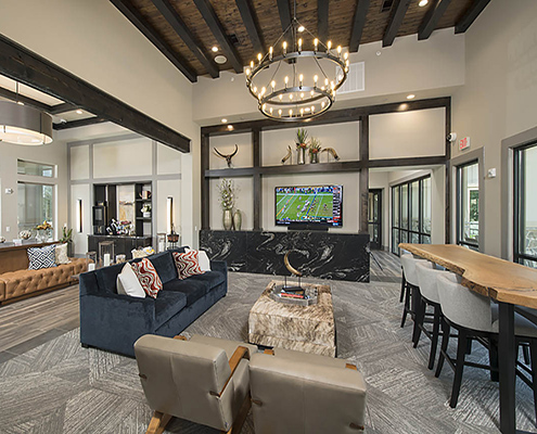 Kathy Andrews Interiors Multifamily Garden Style Interior Design SoCo at Tower Point Leasing and Amenity Center Clubroom Cropped