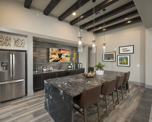 Kathy Andrews Interiors Multifamily Garden Style Interior Design SoCo at Tower Point Leasing and Amenity Center Clubroom Kitchen