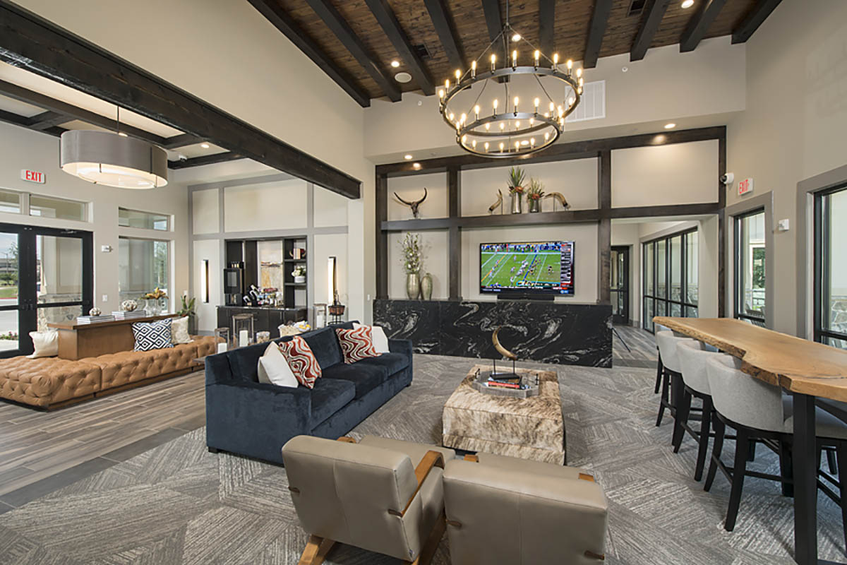 Kathy Andrews Interiors Multifamily Garden Style Interior Design SoCo at Tower Point Leasing and Amenity Center Clubroom