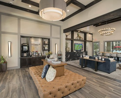Kathy Andrews Interiors Multifamily Garden Style Interior Design SoCo at Tower Point Leasing and Amenity Center Lobby