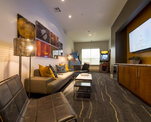 Kathy Andrews Interiors Domain New Forest Multifamily Leasing and Amenity Center Game Room
