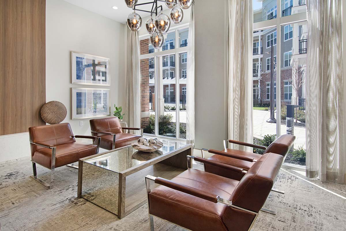 Kathy Andrews Interiors Multifamily Interior Design Leasing and Amenity Centers Woodmont Metro at Metuchen Station Lounge