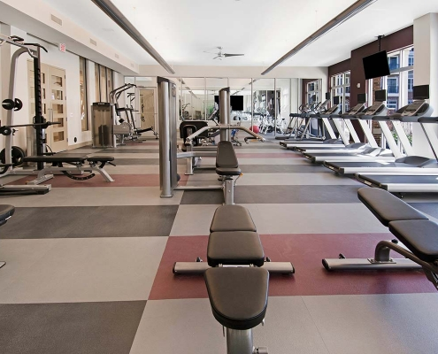 Kathy Andrews Interiors Multifamily Interior Design Leasing and Amenity Centers Woodmont Metro at Metuchen Station Fitness Center