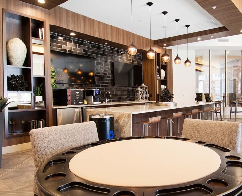 Kathy Andrews Interiors Multifamily Interior Design Leasing and Amenity Centers Woodmont Metro at Metuchen Station Club Room