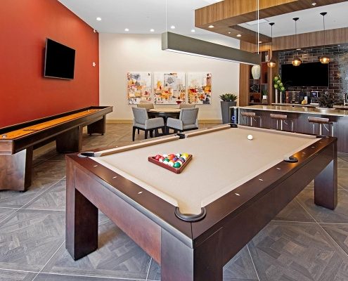 Kathy Andrews Interiors Multifamily Interior Design Leasing and Amenity Centers Woodmont Metro at Metuchen Station Club Room 2