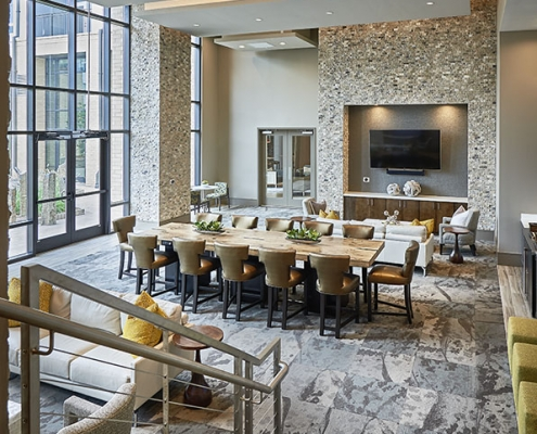 Kathy Andrews Interiors High Rise & Mid Rise Interior Design Multifamily Leasing and Amenity Center Inspire Clubroom
