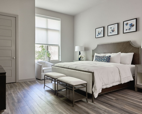 Kathy Andrews Interiors High Rise & Mid Rise Interior Design Multifamily Leasing and Amenity Center Inspire Guest Suite