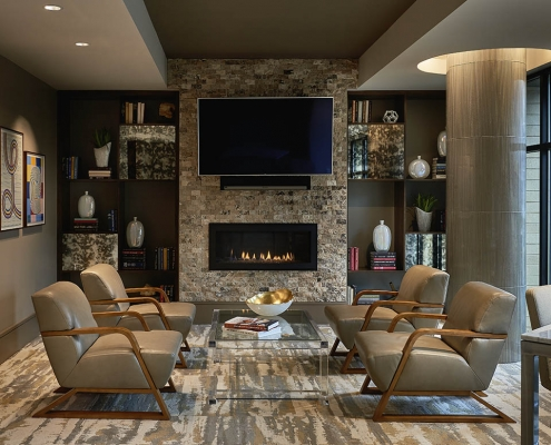 Kathy Andrews Interiors High Rise & Mid Rise Interior Design Multifamily Leasing and Amenity Center Inspire Library