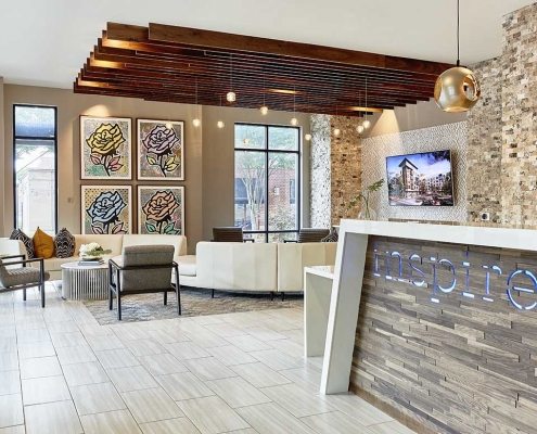 Kathy Andrews Interiors High Rise & Mid Rise Interior Design Multifamily Leasing and Amenity Center Inspire Lobby 2