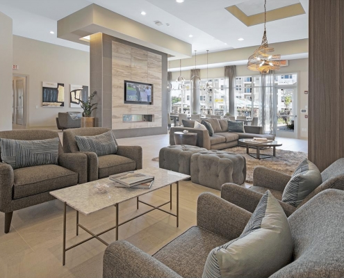 Kathy Andrews Interiors Multifamily Interior Design Leasing and Amenity Centers Woodmont Townsquare Club Room