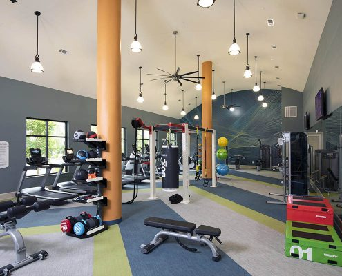 Kathy Andrews Interiors Parkside at Memorial Multifamily Leasing and Amenity Center Fitness