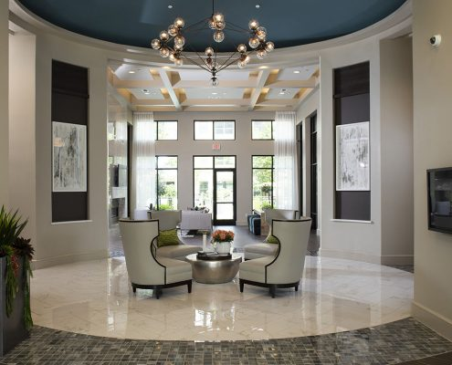Kathy Andrews Interiors Parkside at Memorial Multifamily Leasing and Amenity Center Lobby