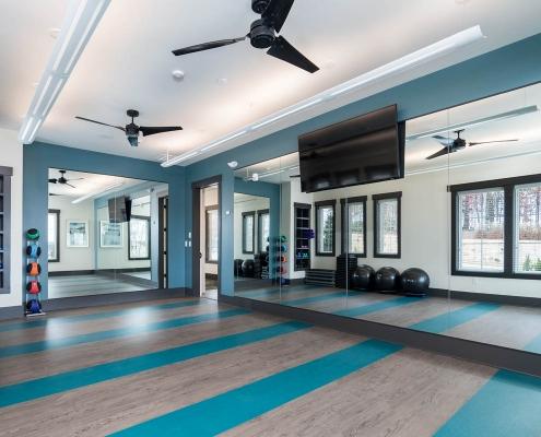 Kathy Andrews Interiors Active Adult Living Community Center Interior Design Encore at Briar Chapel Yoga Room