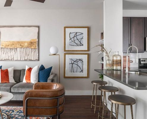 Kathy Andrews Interiors Multifamily Interior Design Broadstone Traditions Model Unit 2 Living Room
