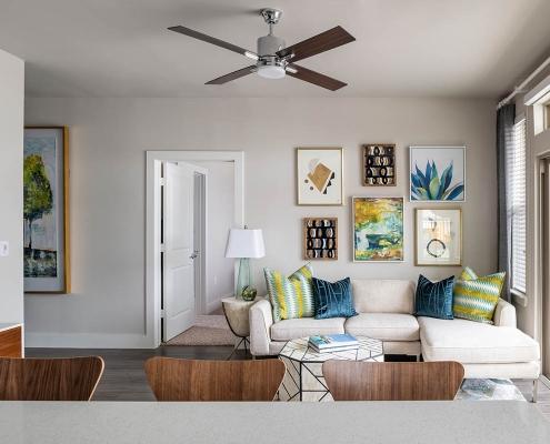 Kathy Andrews Interiors Multifamily Interior Design Broadstone Traditions Model Unit Living Room