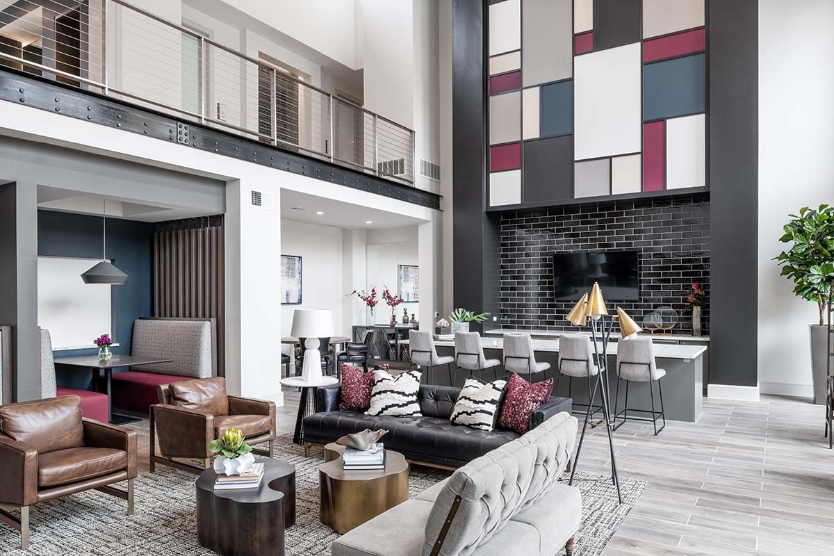 Kathy Andrews Interiors Multifamily Interior Design Leasing and Amenity Center Broadstone Traditions Clubroom 2