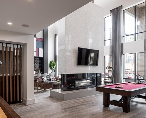 Kathy Andrews Interiors Multifamily Interior Design Leasing and Amenity Center Broadstone Traditions Game Room