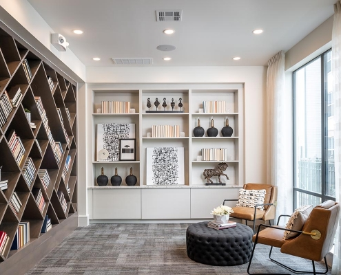 Kathy Andrews Interiors Multifamily Interior Design Leasing and Amenity Center Broadstone Traditions Library