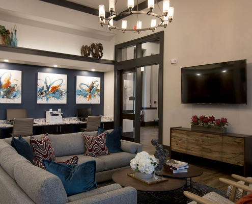 Kathy Andrews Interiors Multifamily Interior Design Leasing and Amenity Center The Park on Wurzbach Clubroom Lounge