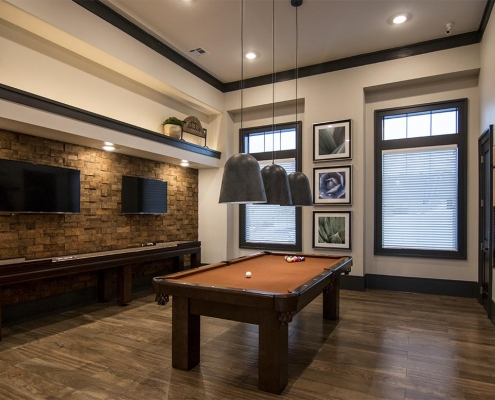 Kathy Andrews Interiors Multifamily Interior Design Leasing and Amenity Center The Park on Wurzbach Game Room