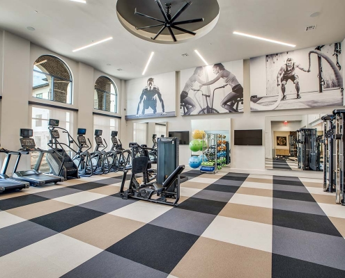 Kathy Andrews Interiors Multifamily High Rise and Mid Rise Interior Design Leasing and Amenity Center Alexan Exchange Fitness Center