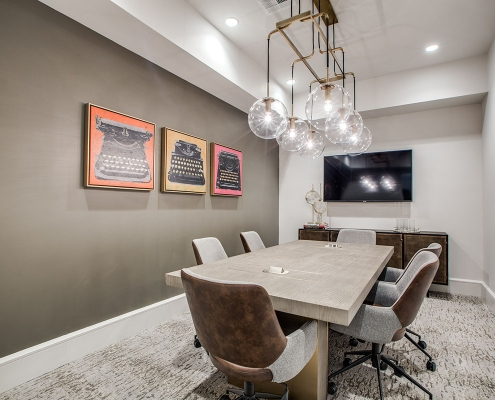 Kathy Andrews Interiors Multifamily High Rise and Mid Rise Interior Design Leasing and Amenity Center Alexan Exchange Conference Room
