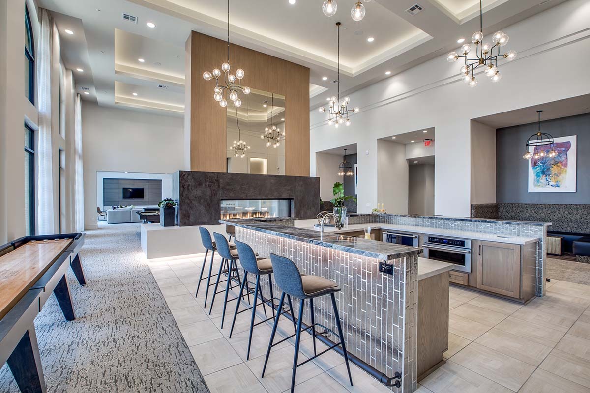 Kathy Andrews Interiors Multifamily High Rise and Mid Rise Interior Design Leasing and Amenity Center Alexan Exchange Club Room