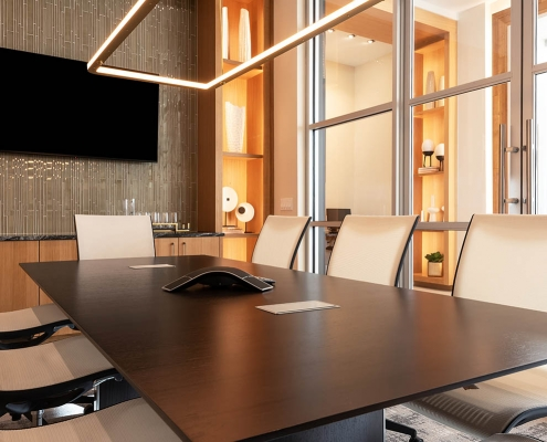 Kathy Andrews Interiors Multifamily Interior Design Leasing and Amenity Center Encore at Boulevard One Conference Room