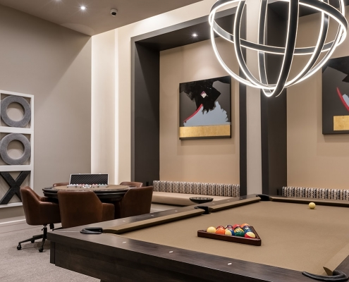 Kathy Andrews Interiors Multifamily Interior Design Leasing and Amenity Center Encore at Boulevard One Game Room 2
